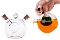 """Γυάλινο σε σχήμα """"σφαιρικό"""" μπουκάλι """"δίχωρο"""" μαζί με 2 φυσικούς κωνικούς φελλούς. Χειροποίητο από φυσητό γυαλί - 414 ml"""