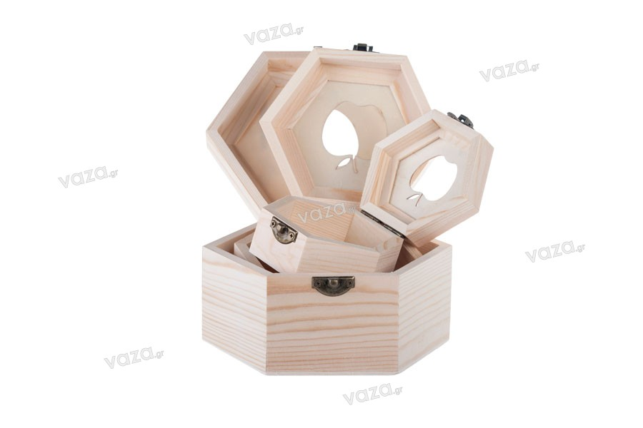 Κουτί ξύλινο αποθήκευσης με παράθυρο σε σχήμα μήλο και κλιπς - σετ 3 τεμαχίων (S -M- L)