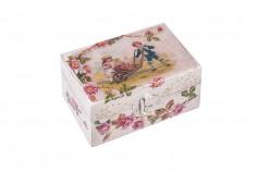 Κουτί ξύλινο με μεταλλικό κλιπς small - decoupage