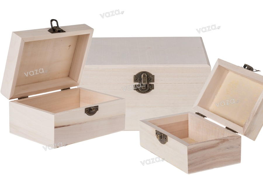 Κουτί ξύλινο με μεταλλικό κλιπς σετ 3 τεμαχίων S-M-L