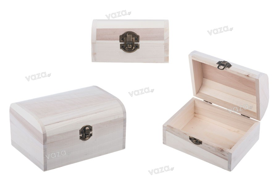 Κουτί ξύλινο αποθήκευσης με κλιπς - σετ 3 τεμαχίων (S -M- L)