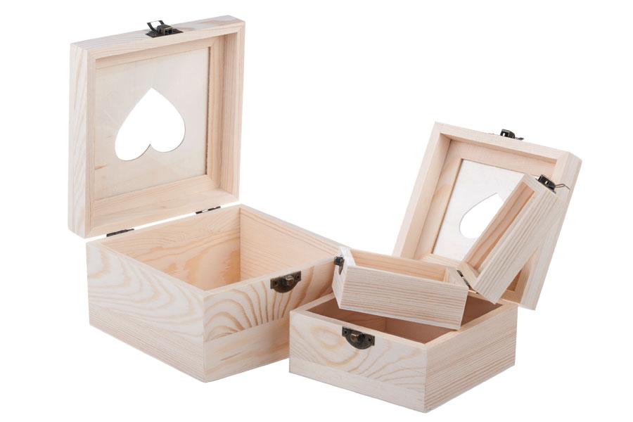 Κουτί ξύλινο αποθήκευσης με παράθυρο καρδιά και κλιπς - σετ 3 τεμαχίων (S -M- L)