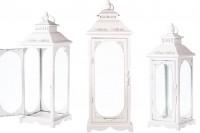 Lanterne en métal sculpté avec verre Windows set de 3 pièces S-M-L