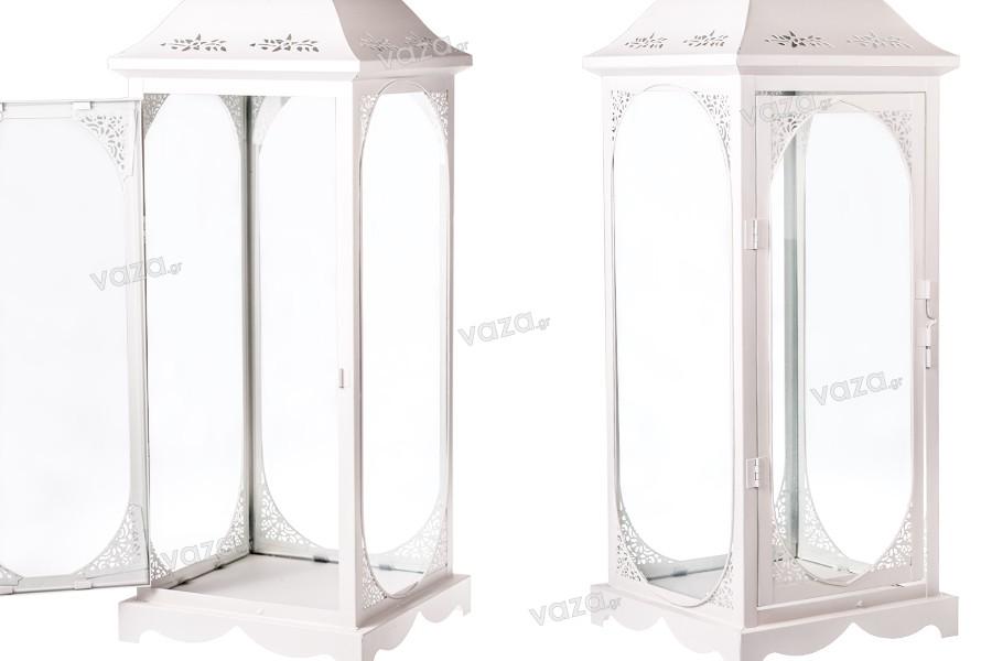Φανάρι μεταλλικό σκαλιστό με γυάλινα παράθυρα σετ 3 τεμαχίων S-M-L
