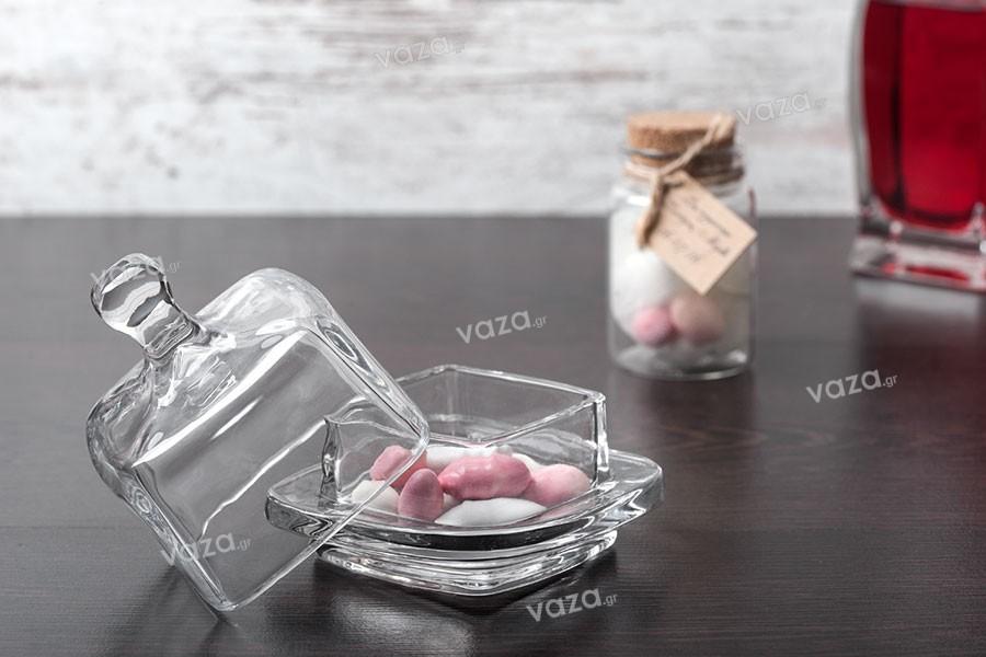 Διακοσμητικό γυάλινο βαζάκι τετράγωνο με γυάλινο καπάκι για κουφέτα & γλυκά