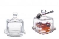 Βαζάκι διακοσμητικό τετράγωνο με γυάλινο καπάκι για κουφέτα & γλυκά