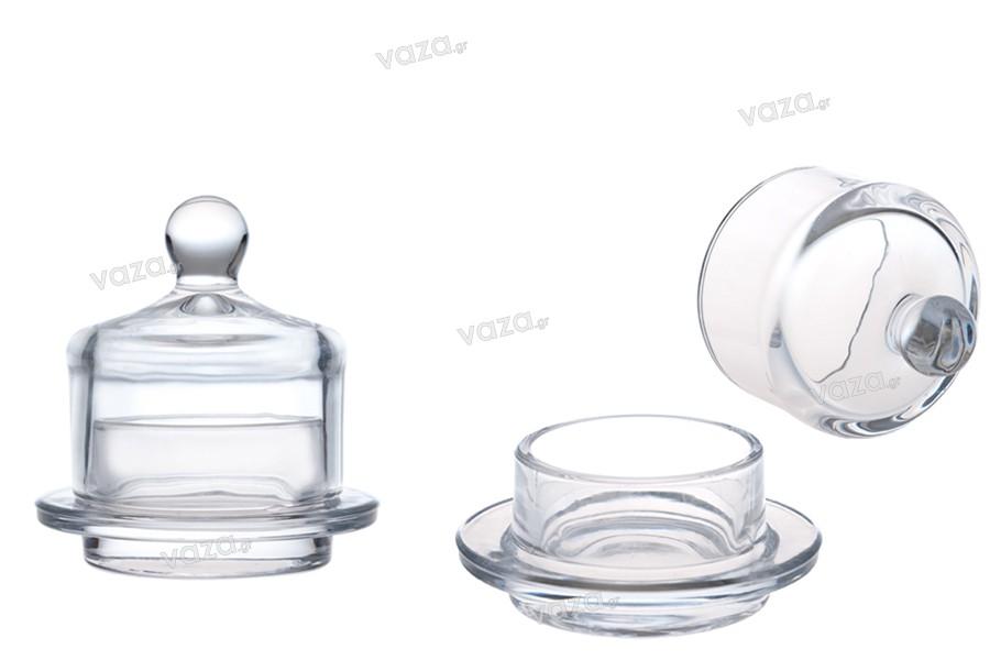 Διακοσμητικό γυάλινο βαζάκι στρογγυλό με γυάλινο καπάκι για κουφέτα & γλυκά