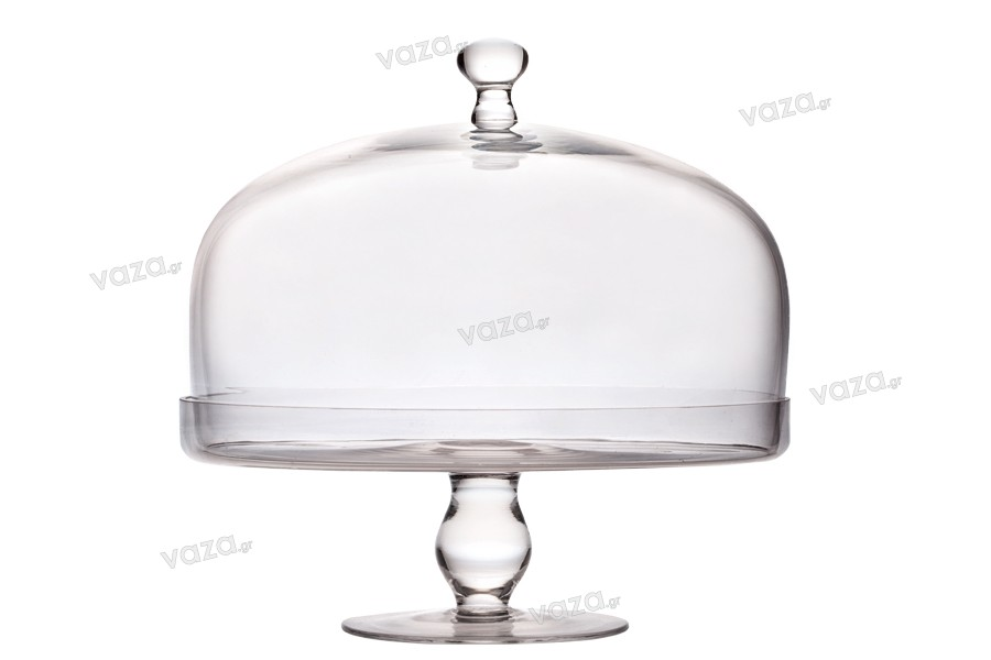 Τουρτιέρα γυάλινη στρογγυλή με βάση και καπάκι