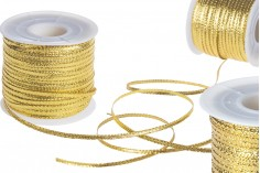 Κορδόνι διακόσμησης με μεταλλική κλωστή 3 mm πλάτος χρυσό / ασημί (το τεμάχιο 100 m)