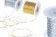 Κορδόνι διακόσμησης με μεταλλική κλωστή 1 mm πλάτος χρυσό / ασημί (το τεμάχιο 100 m)