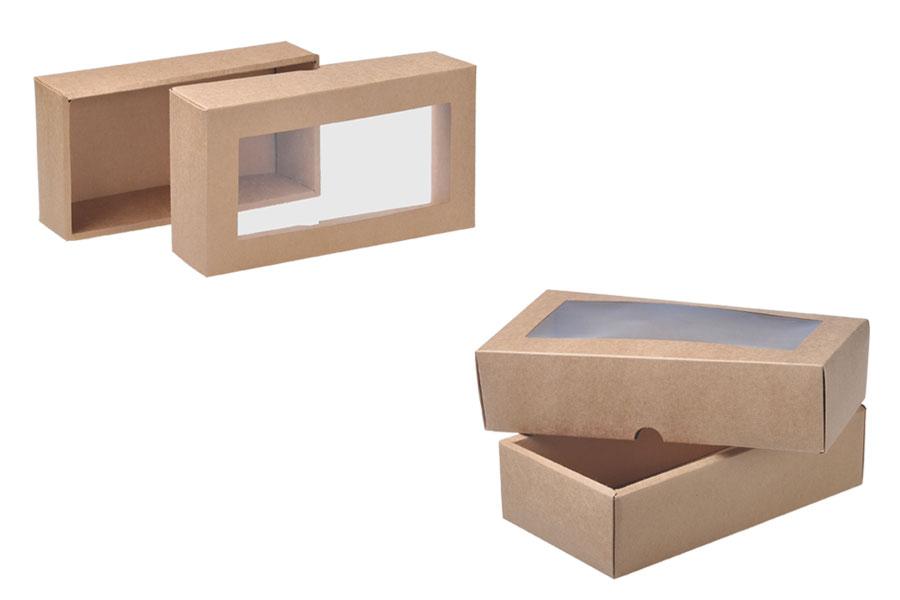 Κουτί συσκευασίας από χαρτί κραφτ με παράθυρο 240x130x60 mm - 12 τμχ