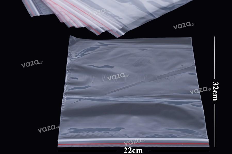 Σακουλάκια διαφανή με κλείσιμο zip 22x32 cm - 100 τμχ