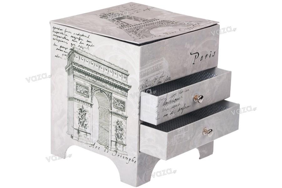 Μπιζουτιέρα με καθρεφτάκι και συρταράκια που ανοίγει το πάνω μέρος με τύπωμα Άιφελ