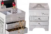Boîte de bijoux avec miroir et tiroirs avec motif Eiffel