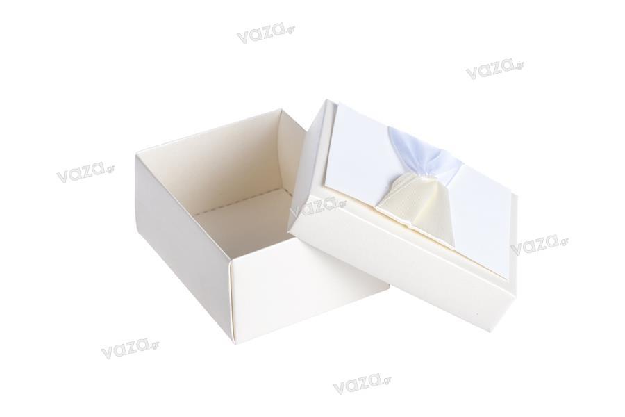 Κουτάκι χάρτινο λευκό με μπέζ και σατέν φιόγκο