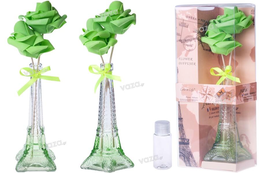 Γυάλινο μπουκαλάκι για αρωματικό χώρου σε σχήμα Άιφελ - 40 ml