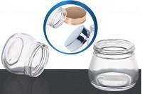 Pot de crèmes en verre 100 ml avec couvercle or ou argent