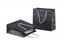 Sac pour cadeaux plastifié noir avec cordon en argent - 220x90x210