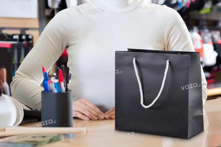 Τσάντα δώρου πλαστικοποιημένη μαύρη με ασημί χερούλι-κορδόνι στριφτό 220x90x210
