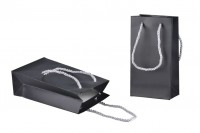 Sac cadeau noir MAT à poignées torsadées argent 6 mm et texture douce, 110x60x200
