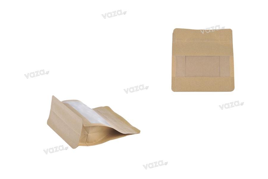 Σακουλάκια κραφτ τύπου Doy Pack, κλείσιμο με θερμοκόλληση, άνοιγμα με ταινία ασφαλείας και χρήση του zipper, παράθυρο, εσωτερική και εξωτερική διάφανη επένδυση 137x66x123