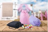 Πουγκάκι υφασμάτινο 130x180 mm σε χρώματα ροζ, μαύρο ή μωβ