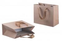 Sac cadeaux en papier kraft écologique à poignées en brun clair 20mm, 220x100x180