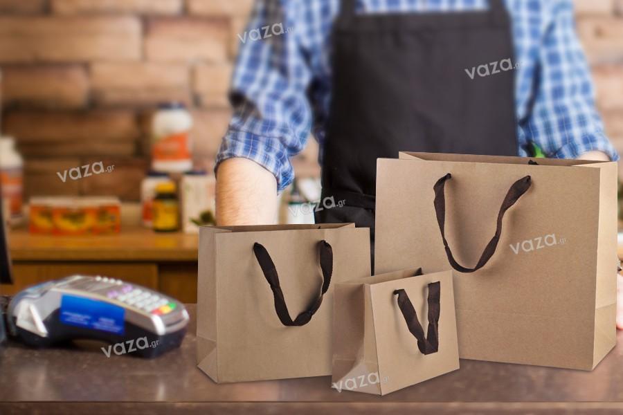 Τσάντα δώρου χάρτινη οικολογική κραφτ - χερούλι καφέ με 20 mm φακαρόλα - 230x100x170