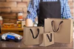 Τσάντα δώρου χάρτινη οικολογική κραφτ με καφέ χερούλι φακαρόλα  - 260x110x230