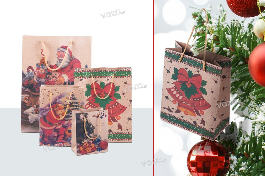 Χριστουγεννιάτικη τσάντα δώρου με κορδόνι 115x60x145 σε 4 σχέδια