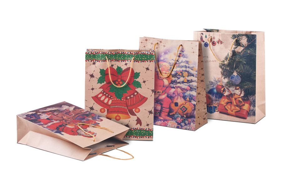 Χριστουγεννιάτικη τσάντα δώρου με κορδόνι 190x80x240 σε 4 σχέδια