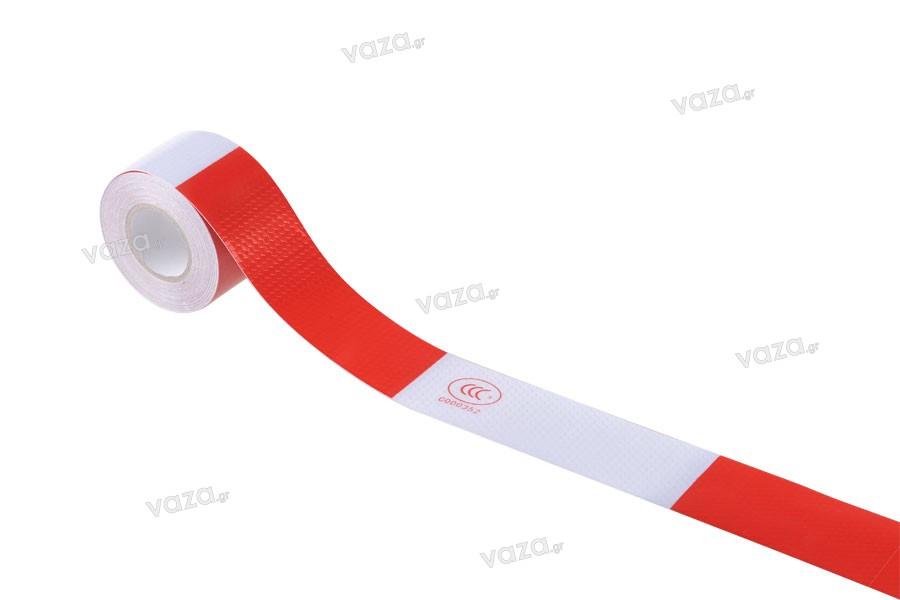 Ταινία αυτοκόλλητη σήμανσης PVC σε χρώματα άσπρο και κόκκινο με πλάτος 50 mm - Ένα τεμάχιο (ρολό) 10 μέτρων