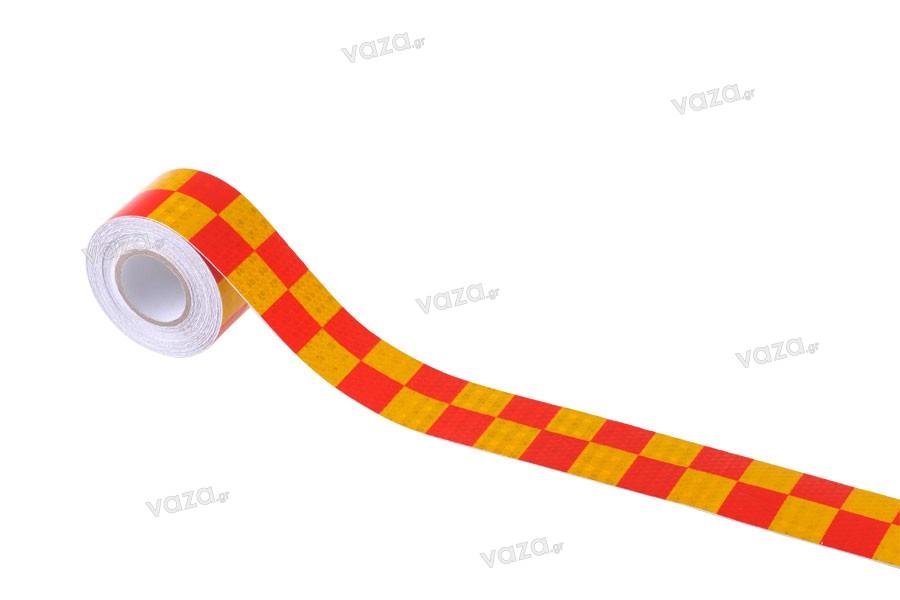 Ταινία αυτοκόλλητη σήμανσης PVC σε χρώματα κίτρινο και κόκκινο με πλάτος 50 mm - Ένα τεμάχιο (ρολό) 10 μέτρων