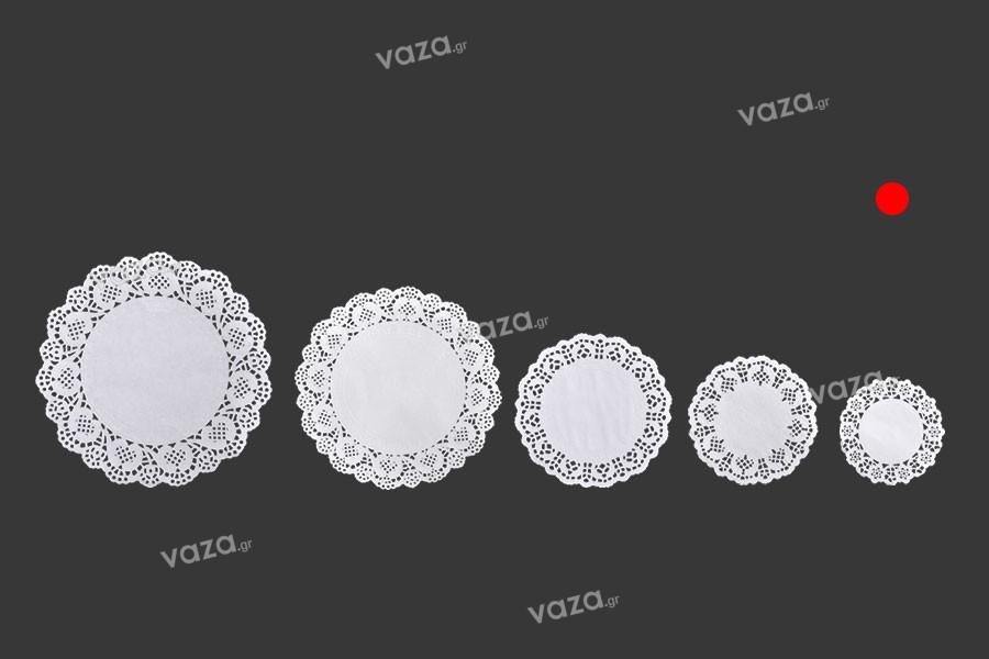 Πανάκια χάρτινα δαντελωτά 90 mm σε λευκό χρώμα για βαζάκια και μπουκαλάκια  - 100 τμχ