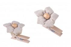 Λουλούδια χειροποίητα από πανάκι με ξύλινη χάντρα για μπομπονιέρες και διακόσμηση - 6 τμχ