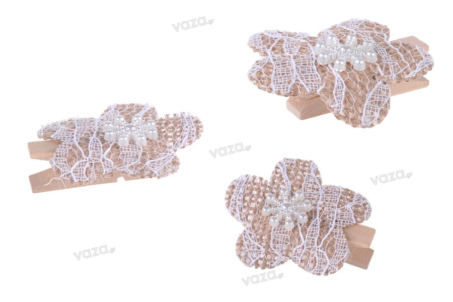 Λουλούδια χειροποίητα από ύφασμα δαντελωτά με μανταλάκι για διακόσμηση - 6άδες