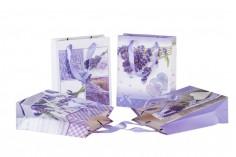Τσάντα δώρου χάρτινη πλαστικοποιημένη 180x80x230 - 4 σχέδια λεβάντα