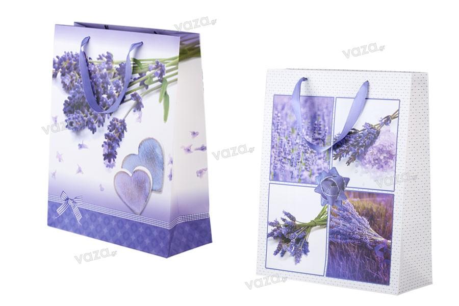 Τσάντα δώρου χάρτινη πλαστικοποιημένη 260x100x320 - 4 σχέδια λεβάντα
