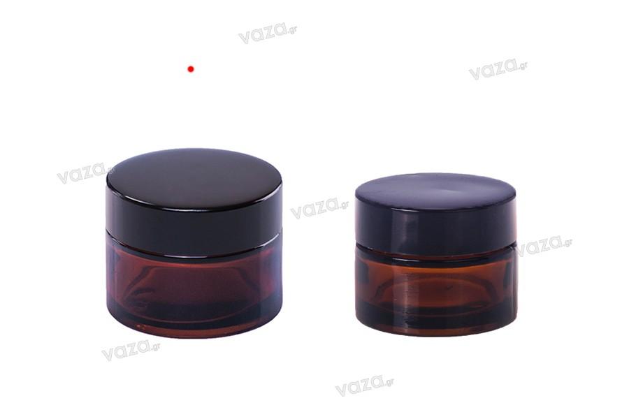 Βαζάκι για κρέμα γυάλινο 50 ml σε 2 χρώματα (διάφανο, καραμελέ) - χωρίς καπάκι