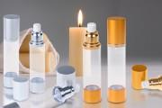Μπουκάλι airless για κρέμα 50 ml με πλαστικό, διάφανο σώμα, καπάκι και βάση αλουμινίου σε 2 χρώματα