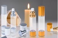 Flacon airless pour crème de 50 ml avec corps en plastique, transparent, base et couvercle en aluminium en 2 couleurs