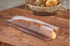 Σακούλα κραφτ καφέ διάστασης 120x50x450 με παράθυρο 40mm για ψωμί μπακέτα - 100 τμχ