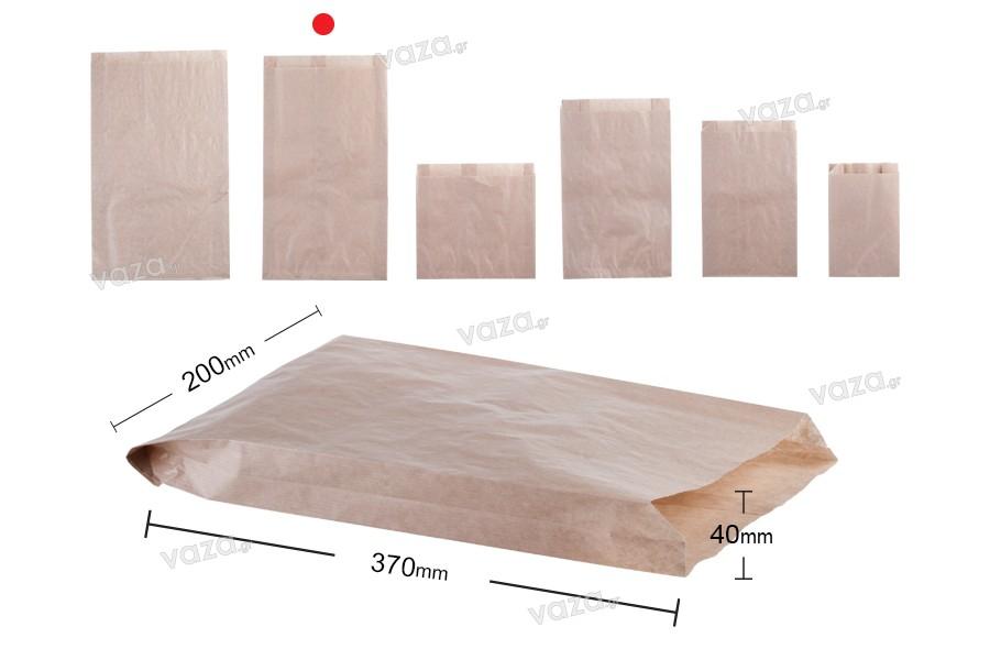 Σακούλα κραφτ καφέ διάστασης 200x40x370 χωρίς παράθυρο - 100 τμχ