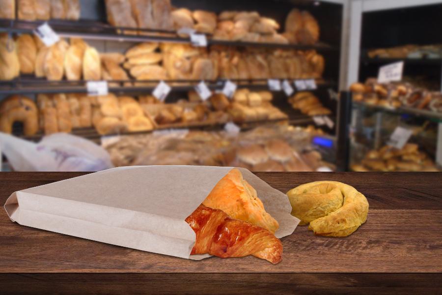 Σακούλα κραφτ καφέ διάστασης 220x50x380 χωρίς παράθυρο - κατάλληλη για λιπαρά τρόφιμα - 100 τμχ