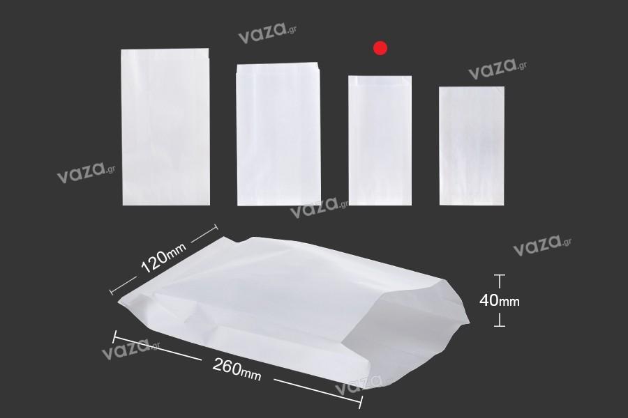 Χαρτοσακούλα λευκή διάστασης 120x40x260 χωρίς παράθυρο - κατάλληλη για λιπαρά τρόφιμα - 100τμχ