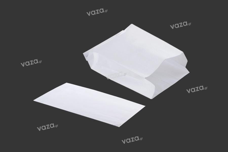 Χαρτοσακούλα λευκή διάστασης 160x80x280 χωρίς παράθυρο - κατάλληλη για λιπαρά τρόφιμα - 100τμχ