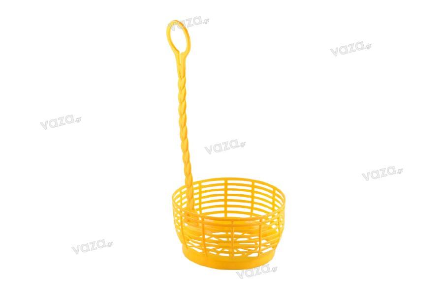 Καλάθι νταμιτζάνας με χερούλι σε κίτρινο χρώμα