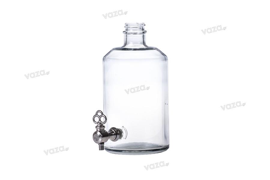 Μπουκάλι για αρώματα 500 ml, γυάλινο, κυλινδρικό με υποδοχή για βρυσάκι (επιλέξτε το βρυσάκι από τα συνοδευτικά)*