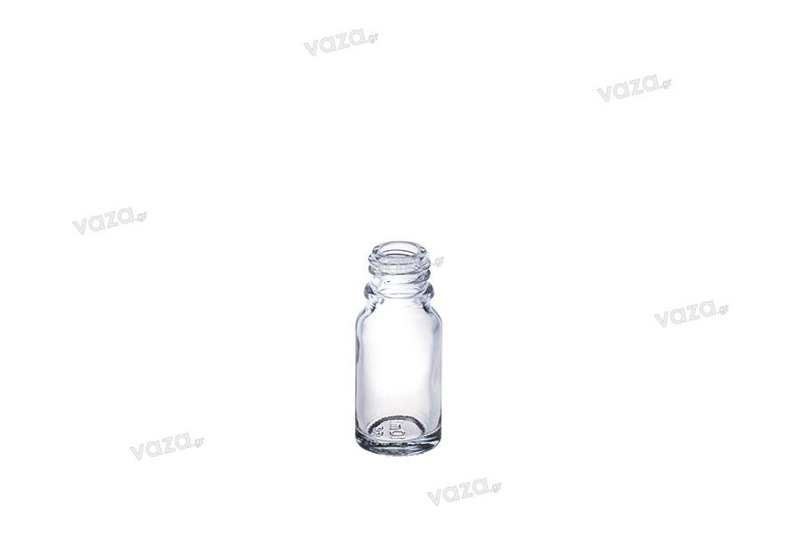 Γυάλινο μπουκαλάκι για αιθέρια έλαια 10 ml διάφανο με στόμιο PP18