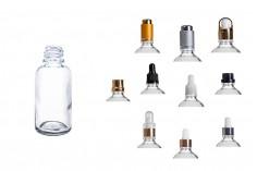 Γυάλινο μπουκαλάκι για αιθέρια έλαια 30 ml διάφανο με στόμιο PP18